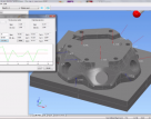 This workpiece undergoes simulated inspection in PowerInpect by Autodesk. Locating a part using on-machine touch probes enables further automation in machining processes.